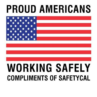 Proud Americans Working Safely Hard Hat Sticker