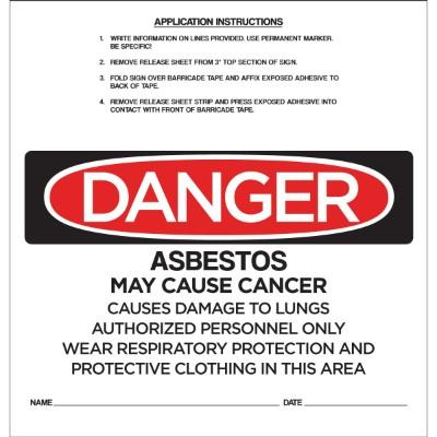 Danger - Asbestos May Cause Cancer OSHA Barricade Sign