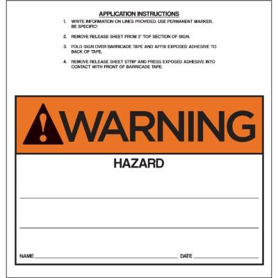 Warning - Hazard ANSI Barricade Sign