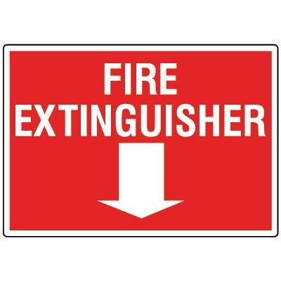 Fire Extinguisher Sign - Arrow Down
