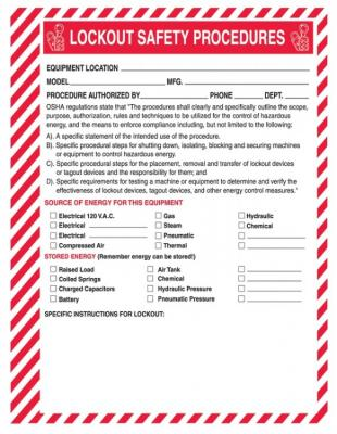 Lockout Safety Procedure Forms