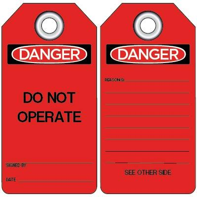 Danger - Do Not Operate (Red) OSHA Lockout Tag