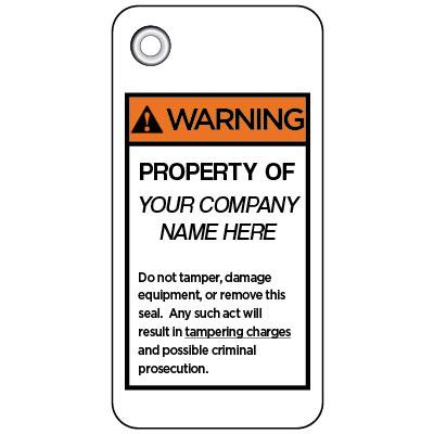 Warning - Property Of ANSI Anti-Tamper Meter Tag