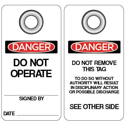 Danger - Do Not Operate OSHA Lockout Tag (Grommet)