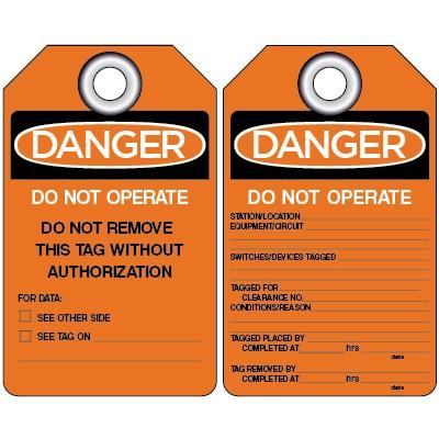 Danger - Do Not Operate (Fluorescent) Lockout Tag