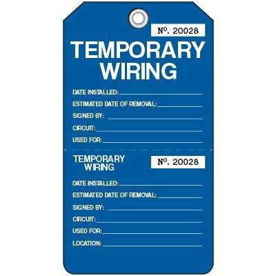 Temporary Wiring Lockout Tag | SAFETYCAL, INC. on