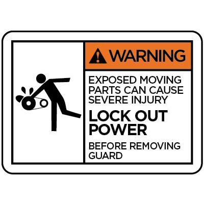 Warning - Exposed Moving Parts Can Cause Sever Injury ANSI Operation Label