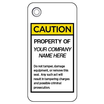 Caution - Property of (Company Name Here) OSHA Anti-Tamper Meter Tag