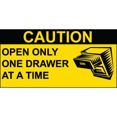 Caution - Open Only One Drawer at at Time OSHA Operation Label