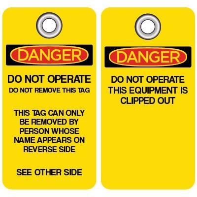 Danger - Do Not Operate This Equipment is Clipped Out OSHA Lockout Tag