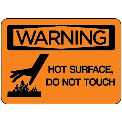 Warning - Hot Surface Do Not Touch OSHA Equipment Label