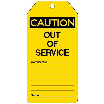 Caution - Out of Service OSHA Lockout Tag