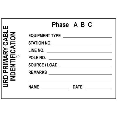 URD Primary Cable Identification (Station No.) Tag