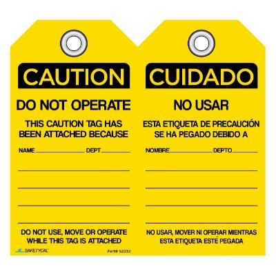 Cation - Do Not Operate OSHA Lockout Tag
