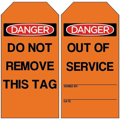 Danger - Out of Service OSHA Lockout Tag