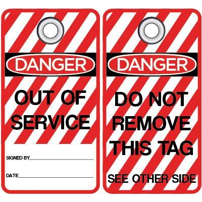 Danger - Out of Service (Red Stripe) OSHA Lockout Tag
