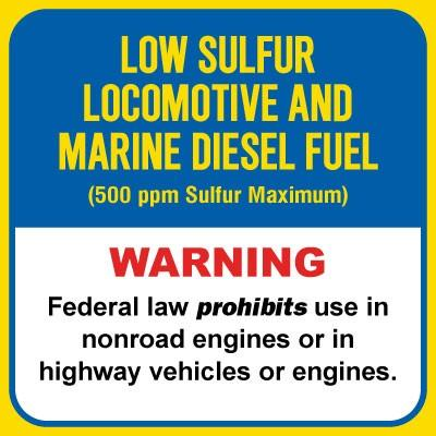 Low Sulfur Locomotive and Marine Diesel Fuel (500ppm) Chemical Label