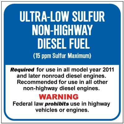Ultra-Low Sulfur Non-Highway Diesel Fuel (15ppm) Chemical Label