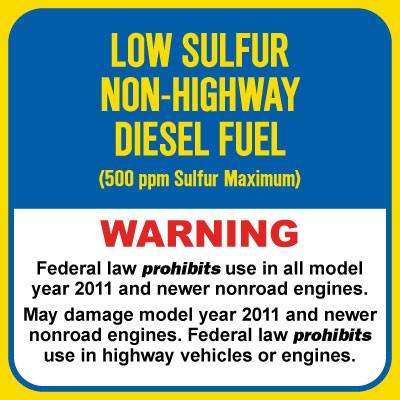 Low Sulfur Non-Highway Diesel Fuel (500ppm) - Warning Chemical Label