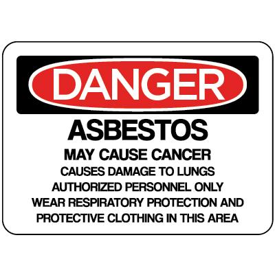Danger - Asbestos May Cause Cancer Authorized Personnel Only OSHA HazMat Sign
