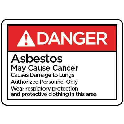 Danger - Asbestos May Cause Cancer Authorized Personnel Only ANSI HazMat Sign