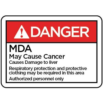 Danger - MDA May Cause Cancer ANSI HazMat Sign