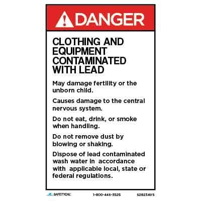 Danger - Clothing and Equipment Contaminated with Lead ANSI Lead Label