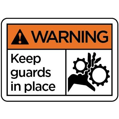 Warning - Keep Guards in Place ANSI Equipment Label