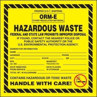 Hazardous Waste - ORM-E Federal Law Hazardous Waste Label