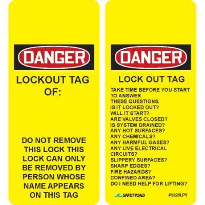 Danger - Lockout Tag Of (Questions on Back) OSHA Lockout Tag