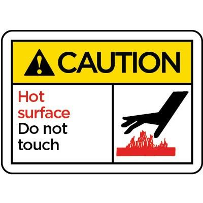 Caution - Hot Surface Do Not Touch ANSI Protection Label