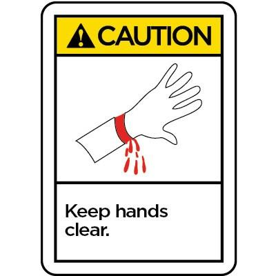Caution - Keep Hands Clear ANSI Operation Label
