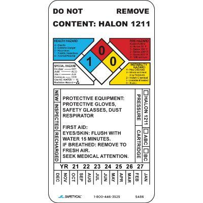 Halon Fire Extinguisher Inspection Tag