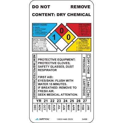 Dry Chemical Inspection Tag