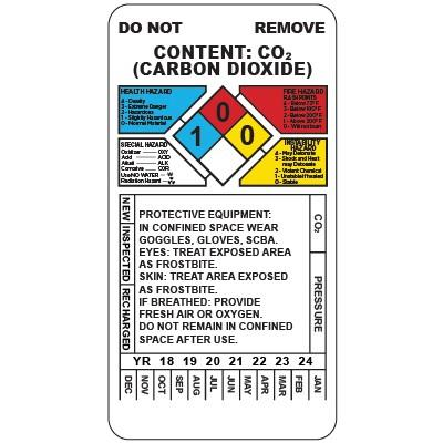 Carbon Dioxide Fire Extinguisher Inspection Tag | SAFETYCAL