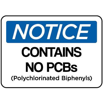 Notice - Contains No PCB's OSHA PCB Label