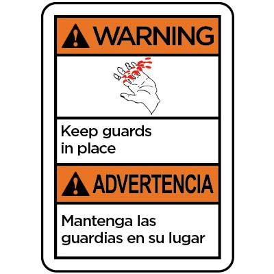 Warning/Advertencia - Keep Guards in Place ANSI Equipment Label