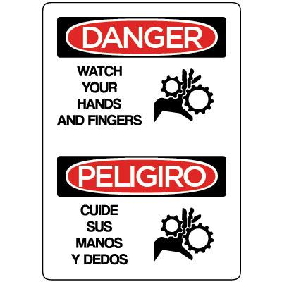 Danger/Peligro - Watch Your Hands and Fingers (Bilingual Spanish) OSHA Operation Label