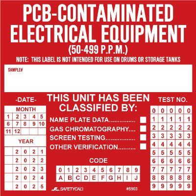 PCB-Contaminated Electrical Equipment PCB Label