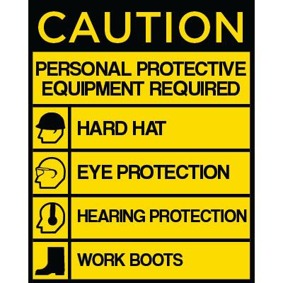 Caution - Personal Protective Equipment Required (List) OSHA