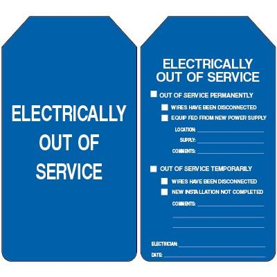 Electrically Out of Service Lockout Tag