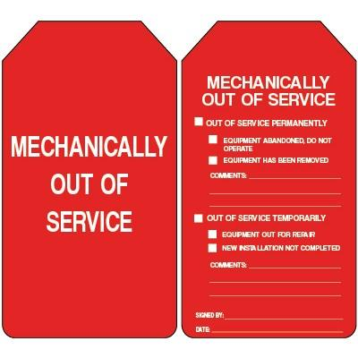 Mechanically Out of Service Lockout Tag