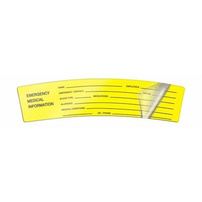 Emergency Medical Information Self Laminating Hard Hat Sticker