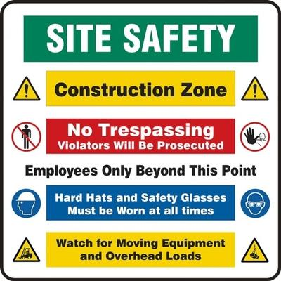 Site Safety - Construction Zone, Employees Only Beyond This Point Site Safety Sign