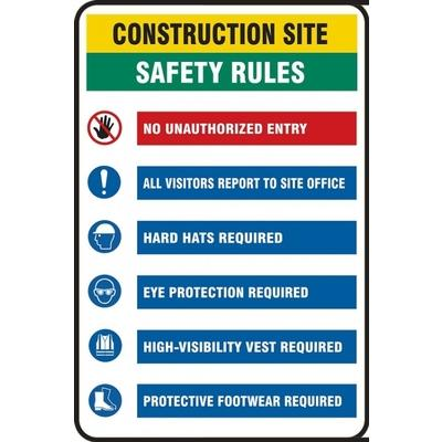 Construction Site - Safety Rules, No Unauthorized Entry Site Safety Sign