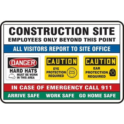 Construction Site - Employees Only Beyond This Point Site Safety Sign