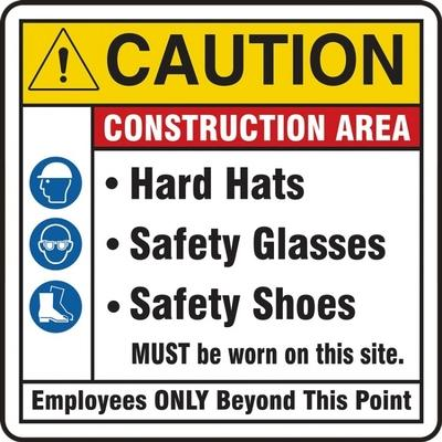 Caution - Construction Area, Employees Only Beyond This Point ANSI Site Safety Sign