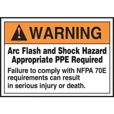 Warning arc flash and shock hazard failure to comply for Arc flash warning signs
