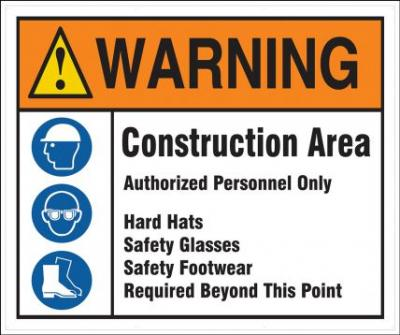 Warning - Construction Area Authorized Personnel Only ANSI Mesh Gate Screen