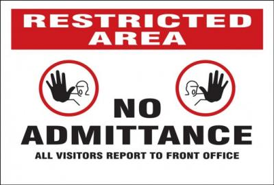 Restricted Area - No Admittance Mesh Gate Screen